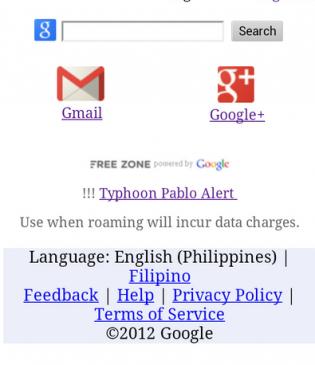 typhoon pablo alert, Free Zone