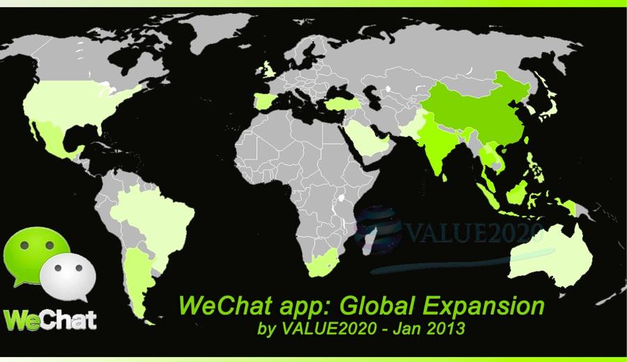 WeChat heatmap worldwide users