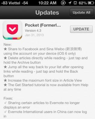Pocket supports Sina Weibo