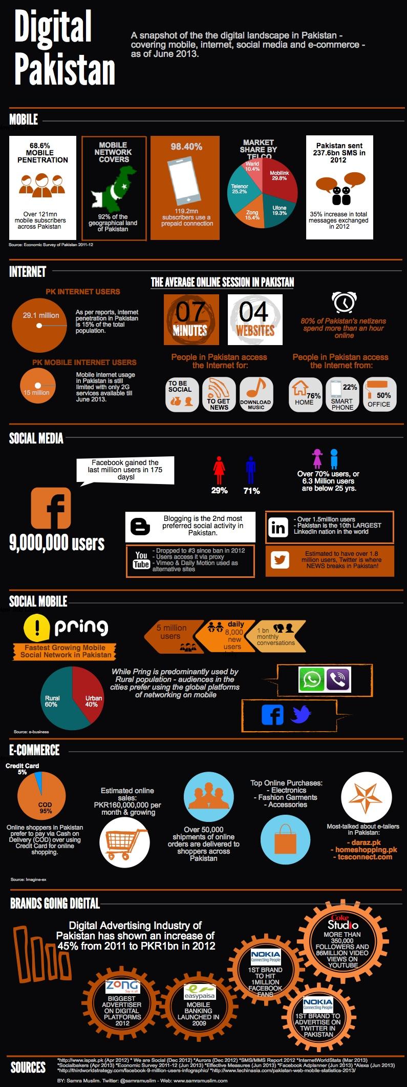 Digital Pakistan infographic, June 2013