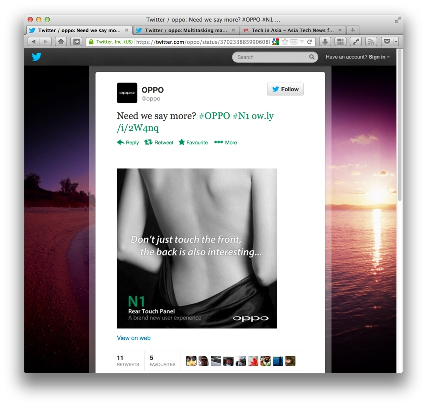 OPPO lame and sexist Twitter ads