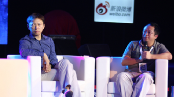 Sohu CEO Charles Zhang onstage at CIC (left)