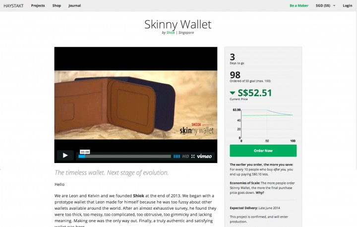 haystakt crowd-pricing crowdfunding skinny wallet
