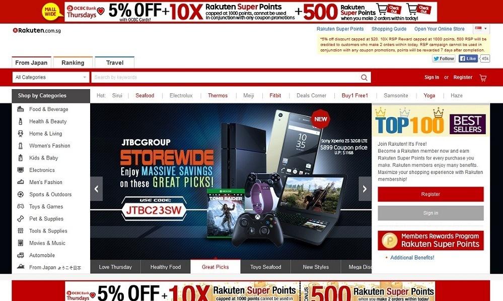 Rakuten Singapore - 14 popular ecommerce sites in Singapore - October 2015