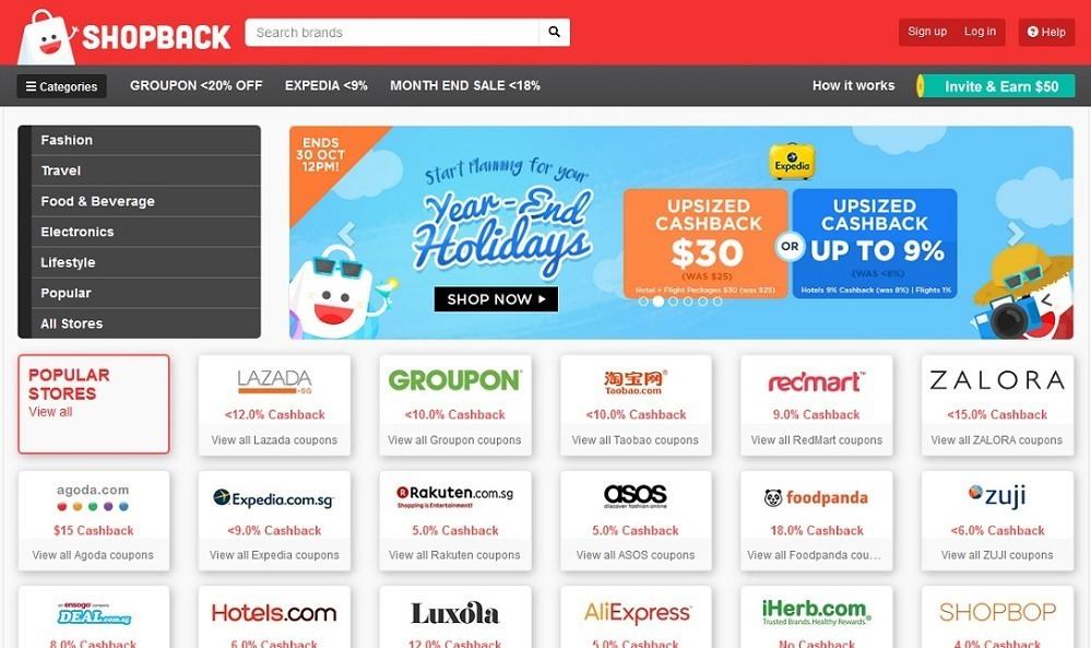 Shopback - 14 popular ecommerce sites in Singapore - October 2015