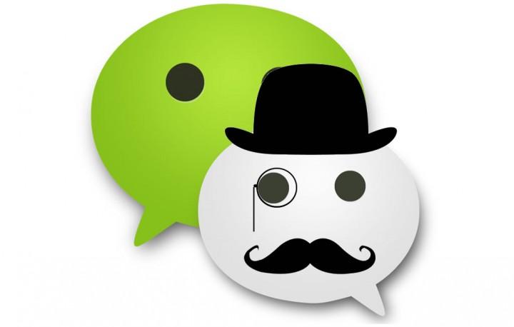 wechat logo monocle hat mustache