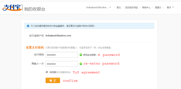 alipay english password 2