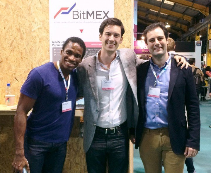 The BitMEX team. From L to R: Arthur, Samuel, and Ben