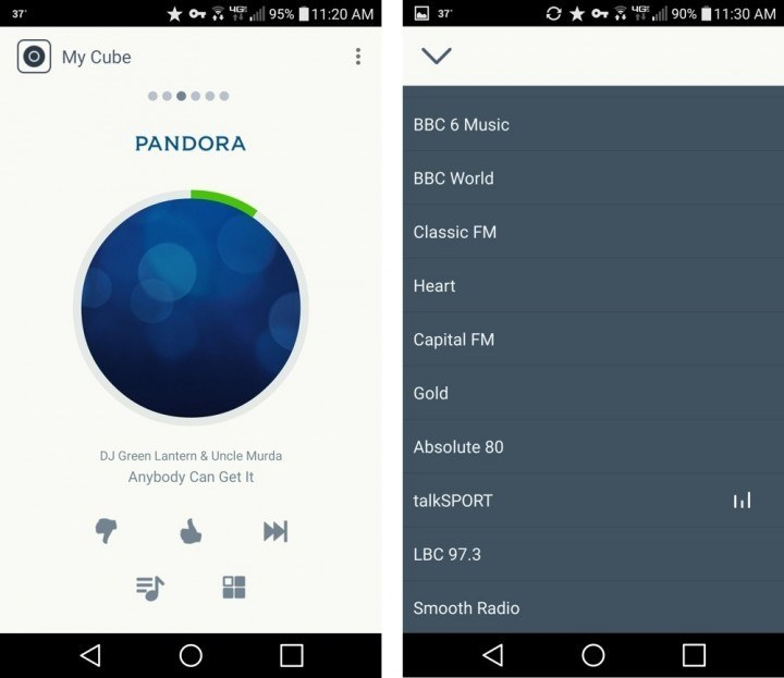 The Sugr Cube app streaming Pandora (left) and playing a radio station (right).
